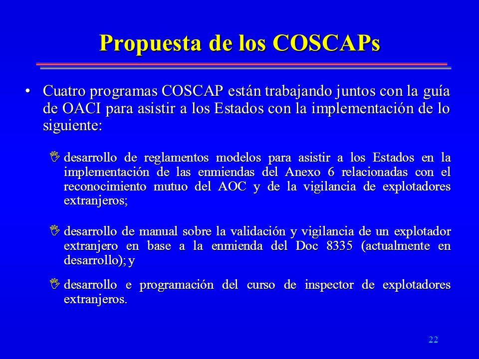 22 Propuesta de los COSCAPs Cuatro programas COSCAP están trabajando juntos con la guía de OACI para asistir a los Estados con la implementación de lo