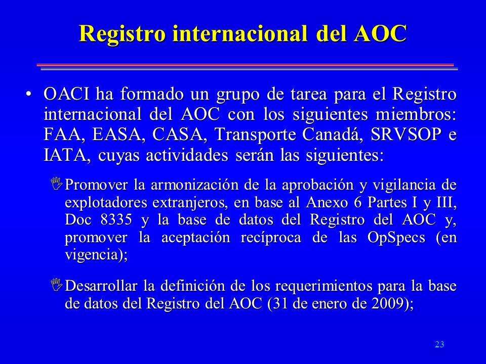 23 Registro internacional del AOC OACI ha formado un grupo de tarea para el Registro internacional del AOC con los siguientes miembros: FAA, EASA, CAS