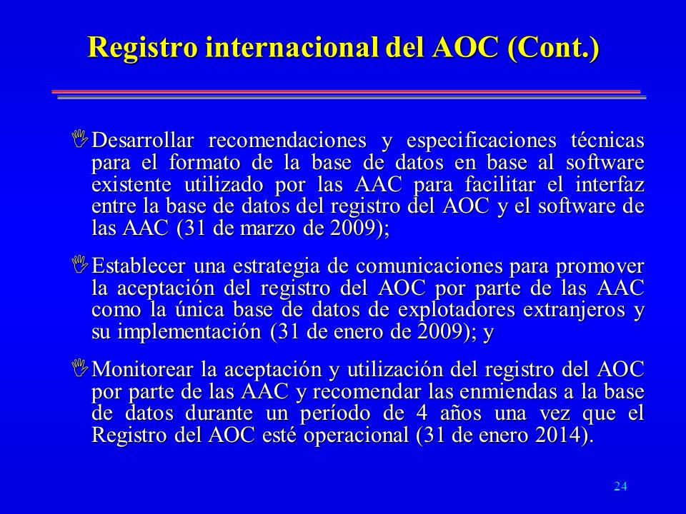 24 Registro internacional del AOC (Cont.) IDesarrollar recomendaciones y especificaciones técnicas para el formato de la base de datos en base al soft