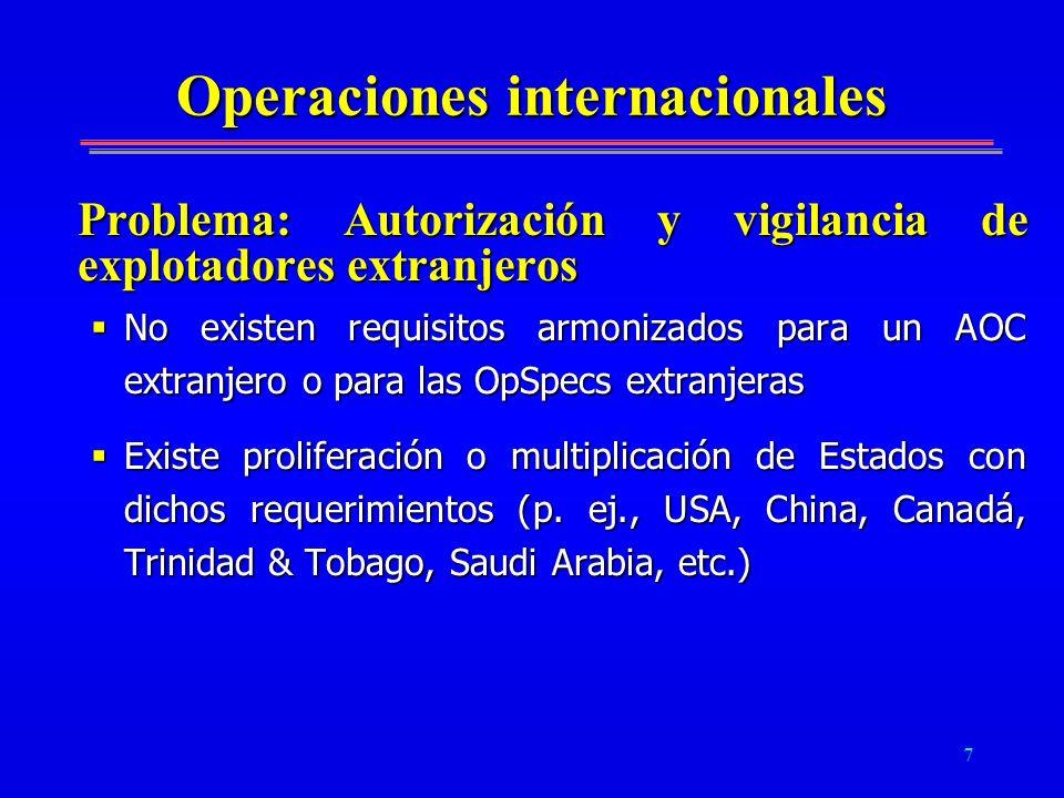 7 Operaciones internacionales Problema: Autorización y vigilancia de explotadores extranjeros No existen requisitos armonizados para un AOC extranjero
