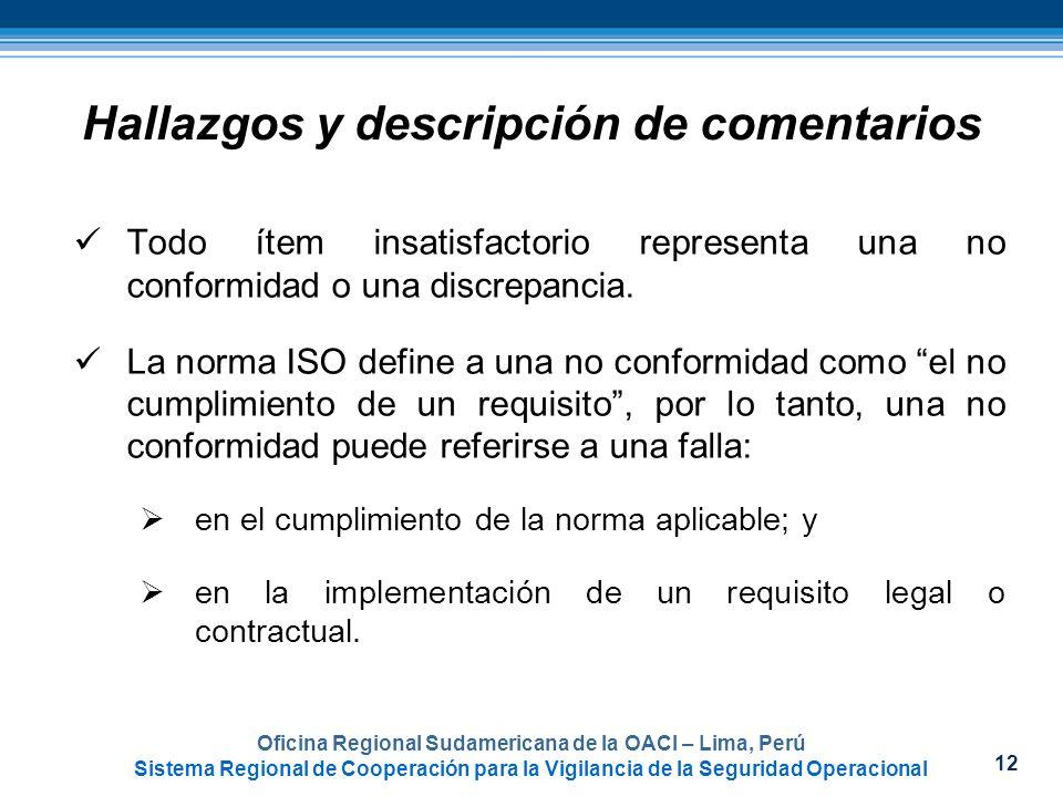 12 Oficina Regional Sudamericana de la OACI – Lima, Perú Sistema Regional de Cooperación para la Vigilancia de la Seguridad Operacional Hallazgos y de