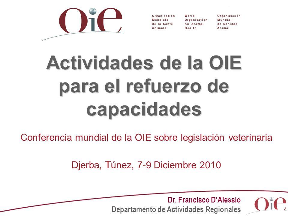 Actividades de la OIE para el refuerzo de capacidades Conferencia mundial de la OIE sobre legislación veterinaria Djerba, Túnez, 7-9 Diciembre 2010 Dr