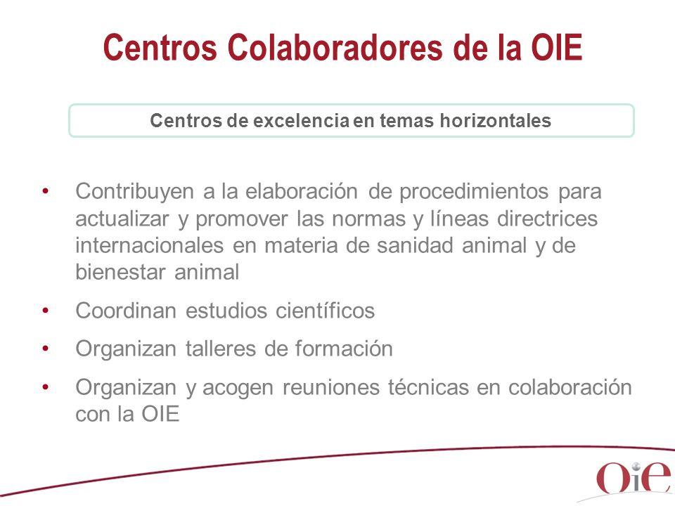 Contribuyen a la elaboración de procedimientos para actualizar y promover las normas y líneas directrices internacionales en materia de sanidad animal y de bienestar animal Coordinan estudios científicos Organizan talleres de formación Organizan y acogen reuniones técnicas en colaboración con la OIE Centros Colaboradores de la OIE Centros de excelencia en temas horizontales