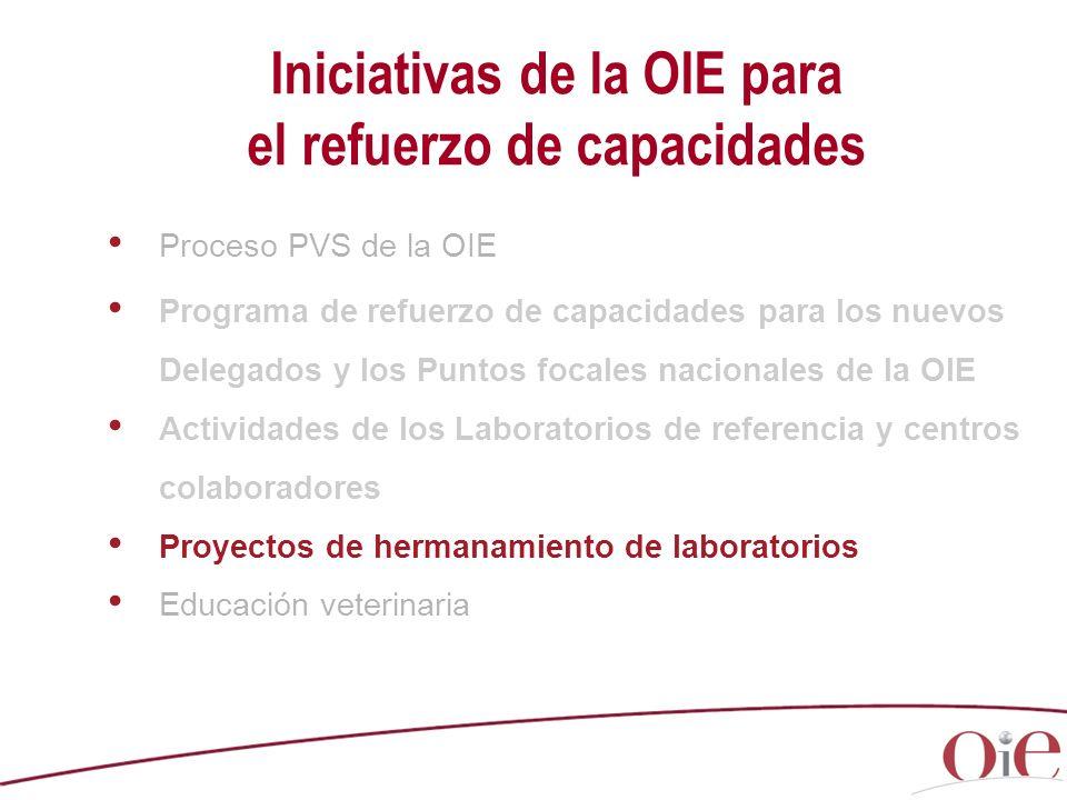 Iniciativas de la OIE para el refuerzo de capacidades Proceso PVS de la OIE Programa de refuerzo de capacidades para los nuevos Delegados y los Puntos