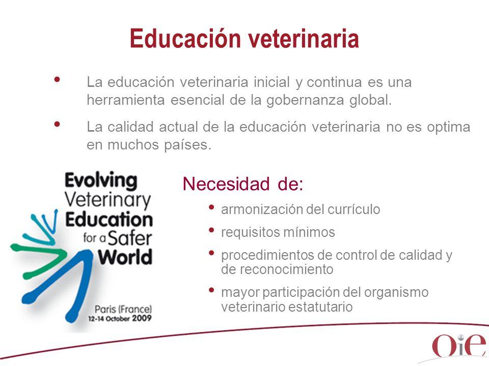 La educación veterinaria inicial y continua es una herramienta esencial de la gobernanza global. La calidad actual de la educación veterinaria no es o