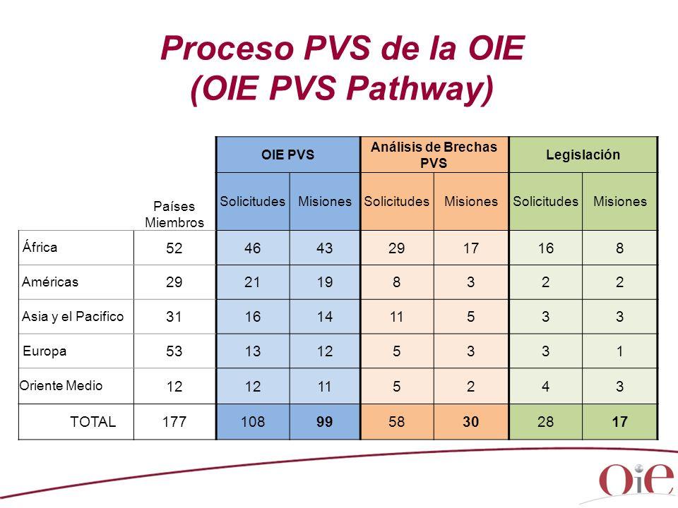 Proceso PVS de la OIE (OIE PVS Pathway) Países Miembros OIE PVS Análisis de Brechas PVS Legislación SolicitudesMisionesSolicitudesMisionesSolicitudesM