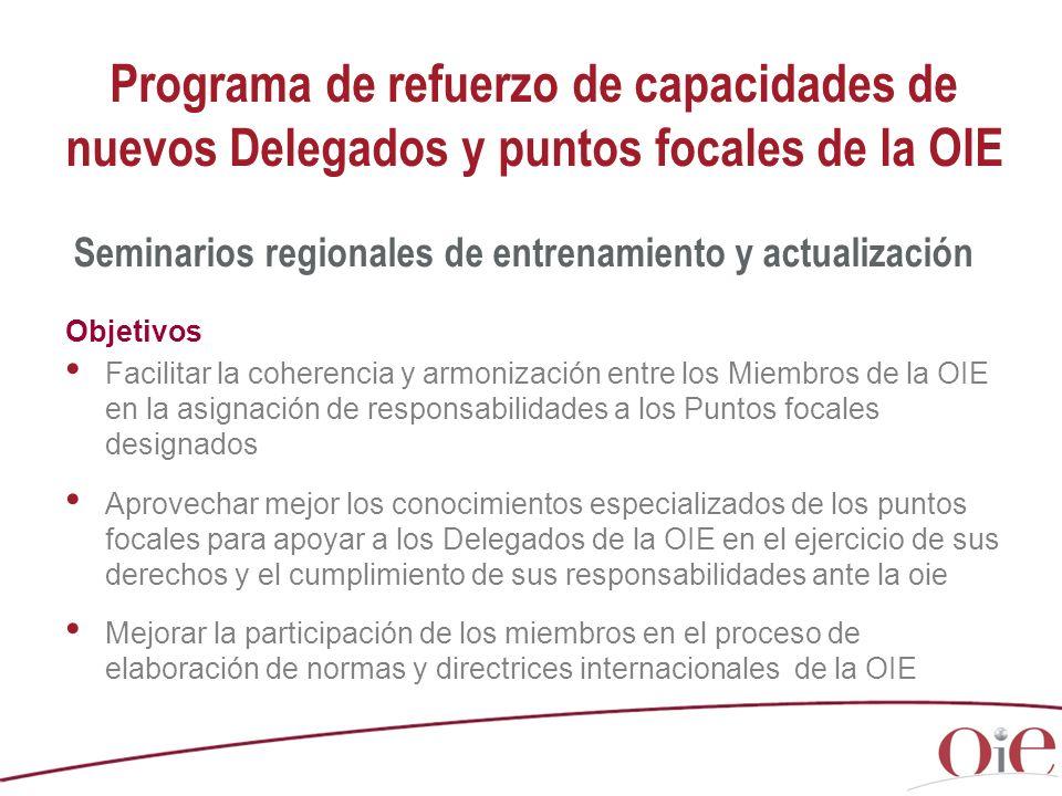 Programa de refuerzo de capacidades de nuevos Delegados y puntos focales de la OIE Objetivos Facilitar la coherencia y armonización entre los Miembros de la OIE en la asignación de responsabilidades a los Puntos focales designados Aprovechar mejor los conocimientos especializados de los puntos focales para apoyar a los Delegados de la OIE en el ejercicio de sus derechos y el cumplimiento de sus responsabilidades ante la oie Mejorar la participación de los miembros en el proceso de elaboración de normas y directrices internacionales de la OIE Seminarios regionales de entrenamiento y actualización