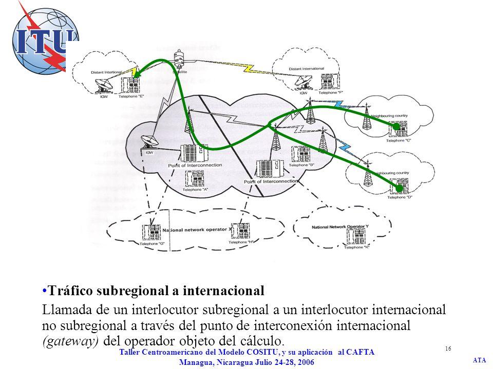 ATA Taller Centroamericano del Modelo COSITU, y su aplicación al CAFTA Managua, Nicaragua Julio 24-28, 2006 16 Tráfico subregional a internacional Lla