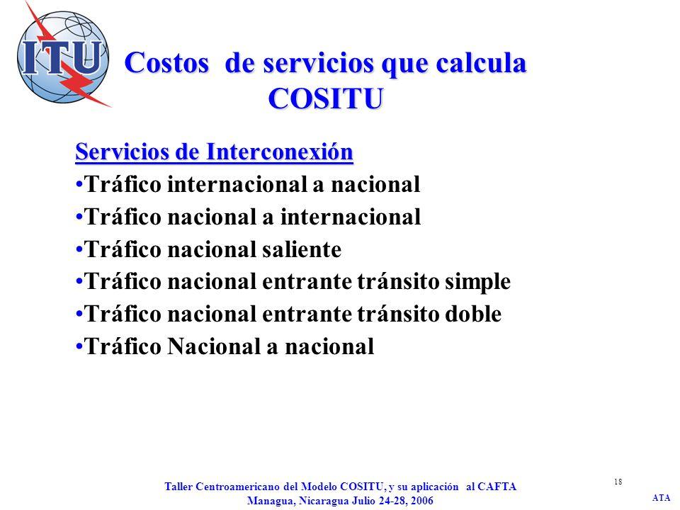 ATA Taller Centroamericano del Modelo COSITU, y su aplicación al CAFTA Managua, Nicaragua Julio 24-28, 2006 19 Tráfico internacional a nacional Llamada de un interlocutor internacional a un operador, sin punto de interconexión internacional (gateway), situado dentro de las mismas fronteras políticas del operador que atiende punto de interconexión interacional (gateway) y es objeto del cálculo.