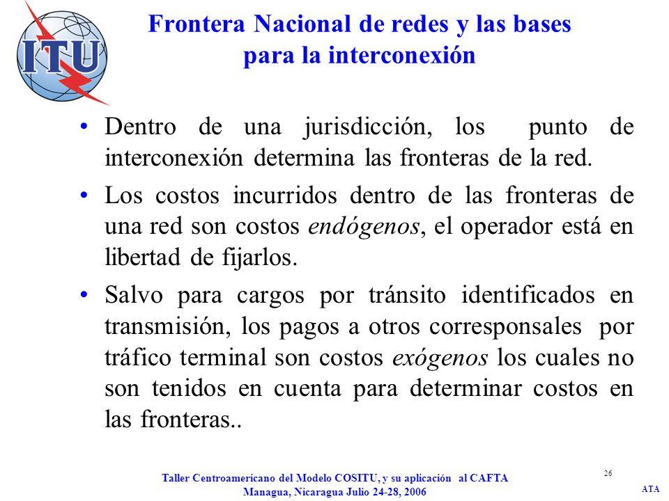 ATA Taller Centroamericano del Modelo COSITU, y su aplicación al CAFTA Managua, Nicaragua Julio 24-28, 2006 26 Frontera Nacional de redes y las bases