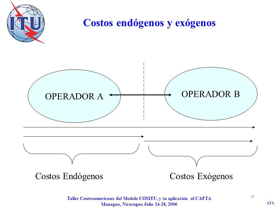 ATA Taller Centroamericano del Modelo COSITU, y su aplicación al CAFTA Managua, Nicaragua Julio 24-28, 2006 28 Para cada operador cuales son los servicios que generan costos endógenos.