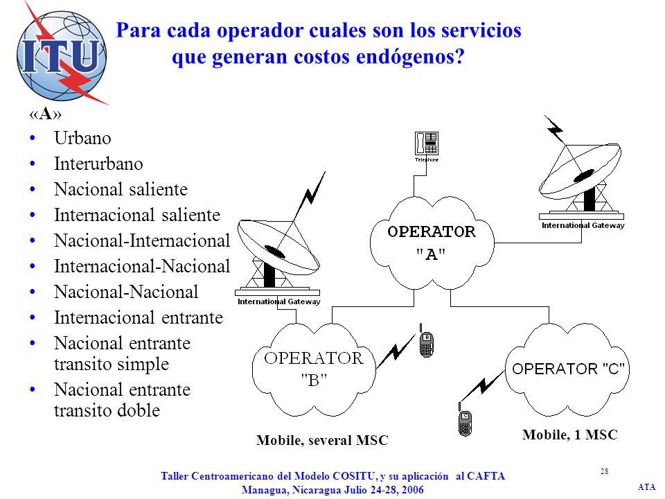 ATA Taller Centroamericano del Modelo COSITU, y su aplicación al CAFTA Managua, Nicaragua Julio 24-28, 2006 29 Para cada operador cuales son los servicios que generan costos endógenos.
