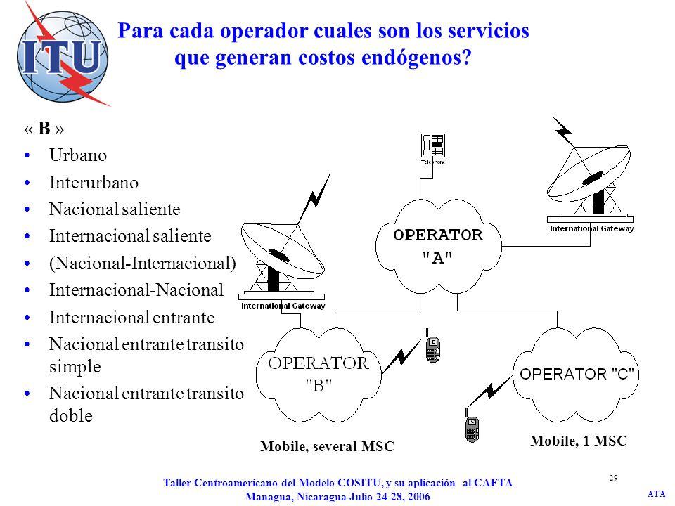 ATA Taller Centroamericano del Modelo COSITU, y su aplicación al CAFTA Managua, Nicaragua Julio 24-28, 2006 30 Para cada operador cuales son los servicios que generan costos endógenos.
