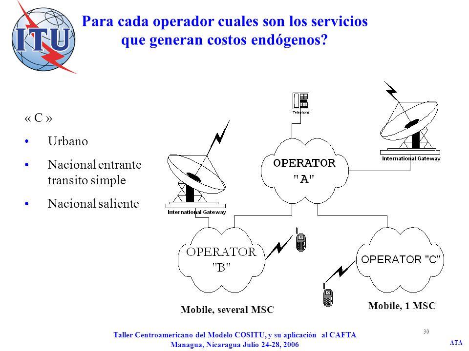 ATA Taller Centroamericano del Modelo COSITU, y su aplicación al CAFTA Managua, Nicaragua Julio 24-28, 2006 30 Para cada operador cuales son los servi