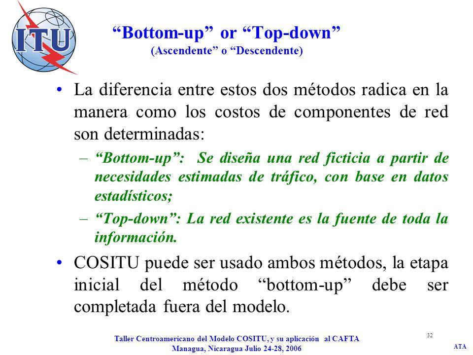 ATA Taller Centroamericano del Modelo COSITU, y su aplicación al CAFTA Managua, Nicaragua Julio 24-28, 2006 32 Bottom-up or Top-down (Ascendente o Des