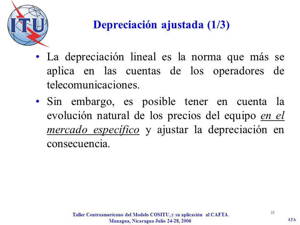ATA Taller Centroamericano del Modelo COSITU, y su aplicación al CAFTA Managua, Nicaragua Julio 24-28, 2006 33 Depreciación ajustada (1/3) La deprecia