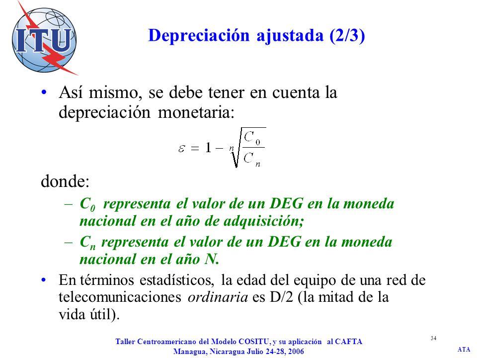 ATA Taller Centroamericano del Modelo COSITU, y su aplicación al CAFTA Managua, Nicaragua Julio 24-28, 2006 35 Depreciación ajustada (3/3) ACC=AMO*((1+ ) D/2 /(1- ) D/2 –1) donde: ACC = ajuste a los costos actuales AMO = dotación en concepto de amortización = índice anual medio de crecimiento del precio del equipo = tasa anual media de depreciación monetaria D = periodo de depreciación