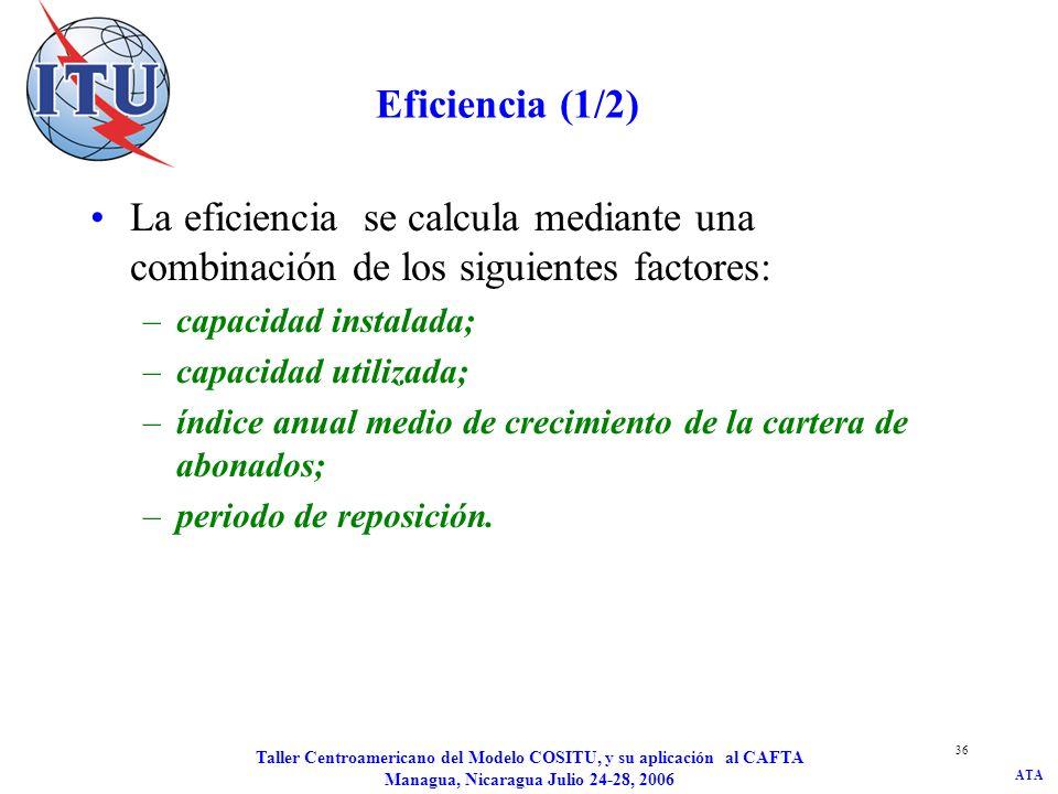 ATA Taller Centroamericano del Modelo COSITU, y su aplicación al CAFTA Managua, Nicaragua Julio 24-28, 2006 37 Eficiencia (2/2) K= Max(0 ; K - K u *[(1+ ) N -1] ) donde : K - representa la capacidad en reserva; K - representa la diferencia entre la capacidad instalada y la capacidad utilizada; K u -representa la capacidad utilizada; τ - representa el índice anual medio de crecimiento de la cartera de abonados; N - representa el tiempo de ampliación necesario.