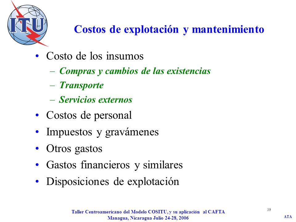 ATA Taller Centroamericano del Modelo COSITU, y su aplicación al CAFTA Managua, Nicaragua Julio 24-28, 2006 39 Costos de explotación y mantenimiento C