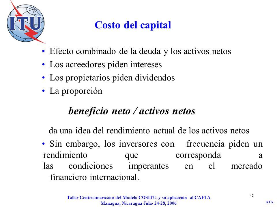 ATA Taller Centroamericano del Modelo COSITU, y su aplicación al CAFTA Managua, Nicaragua Julio 24-28, 2006 41 Costo del capital El modelo de valoración de activos financieros (CAPM) ofrece una indicación de la manera de determinar un rendimiento mínimo de los activos netos en un mercado determinado: