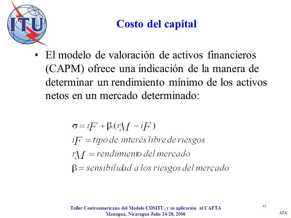 ATA Taller Centroamericano del Modelo COSITU, y su aplicación al CAFTA Managua, Nicaragua Julio 24-28, 2006 41 Costo del capital El modelo de valoraci