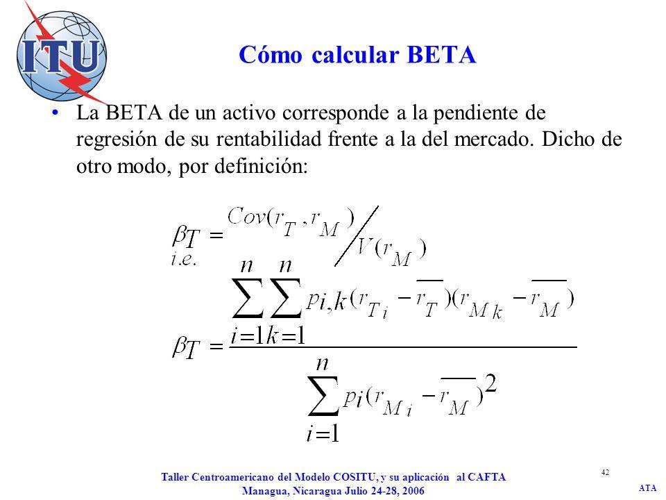 ATA Taller Centroamericano del Modelo COSITU, y su aplicación al CAFTA Managua, Nicaragua Julio 24-28, 2006 42 Cómo calcular BETA La BETA de un activo