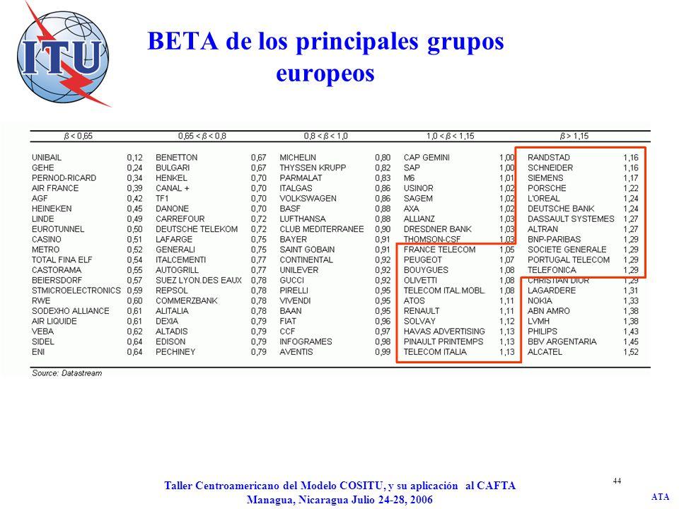 ATA Taller Centroamericano del Modelo COSITU, y su aplicación al CAFTA Managua, Nicaragua Julio 24-28, 2006 44 BETA de los principales grupos europeos