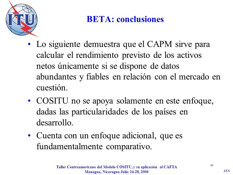 ATA Taller Centroamericano del Modelo COSITU, y su aplicación al CAFTA Managua, Nicaragua Julio 24-28, 2006 49 BETA: conclusiones Lo siguiente demuest