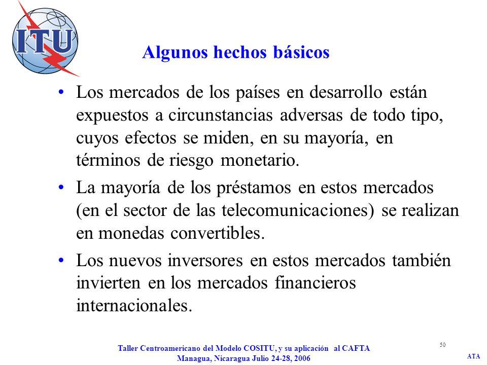 ATA Taller Centroamericano del Modelo COSITU, y su aplicación al CAFTA Managua, Nicaragua Julio 24-28, 2006 51 Consecuencias El tipo de interés aplicado a las deudas en moneda fuerte debe ser ajustado para la prima de riesgo de los mercados emisores y adaptado a las condiciones locales mediante la tasa de depreciación monetaria.