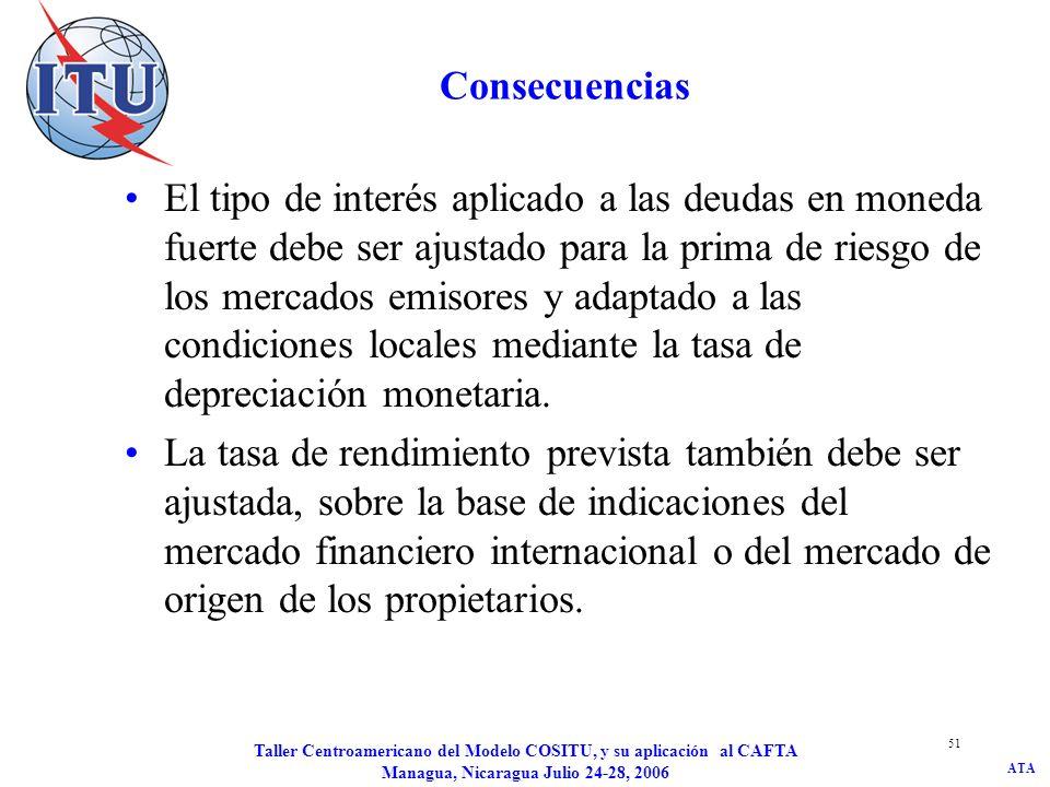 ATA Taller Centroamericano del Modelo COSITU, y su aplicación al CAFTA Managua, Nicaragua Julio 24-28, 2006 52 Cómo calcular la prima de riesgo asociada a la depreciación monetaria n = duración media del préstamo ε = depreciación monetaria i F = tipo de interés del dinero libre de riesgo