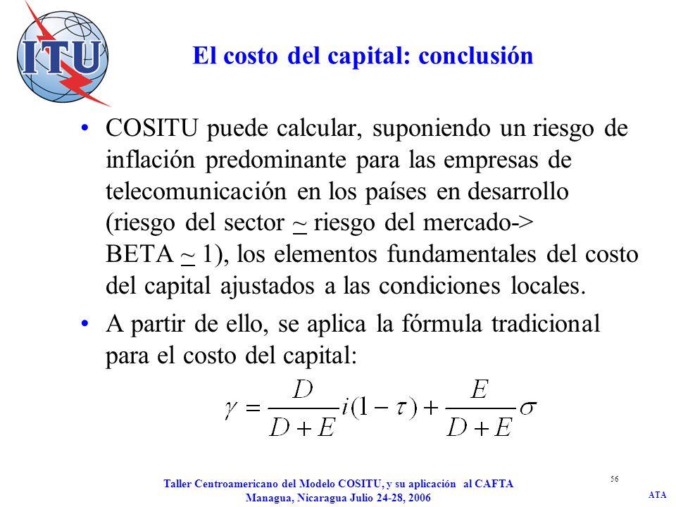 ATA Taller Centroamericano del Modelo COSITU, y su aplicación al CAFTA Managua, Nicaragua Julio 24-28, 2006 56 El costo del capital: conclusión COSITU