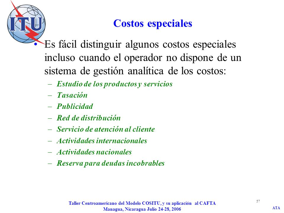 ATA Taller Centroamericano del Modelo COSITU, y su aplicación al CAFTA Managua, Nicaragua Julio 24-28, 2006 57 Costos especiales Es fácil distinguir a