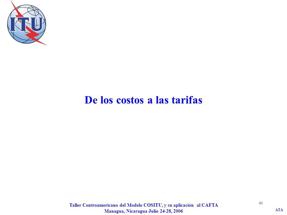 ATA Taller Centroamericano del Modelo COSITU, y su aplicación al CAFTA Managua, Nicaragua Julio 24-28, 2006 61 Otros elementos tarifarios La autoridad de reglamentación puede imponer limitaciones a los precios aplicados por un proveedor de servicios de telecomunicaciones: –Impuesto sobre los beneficios.