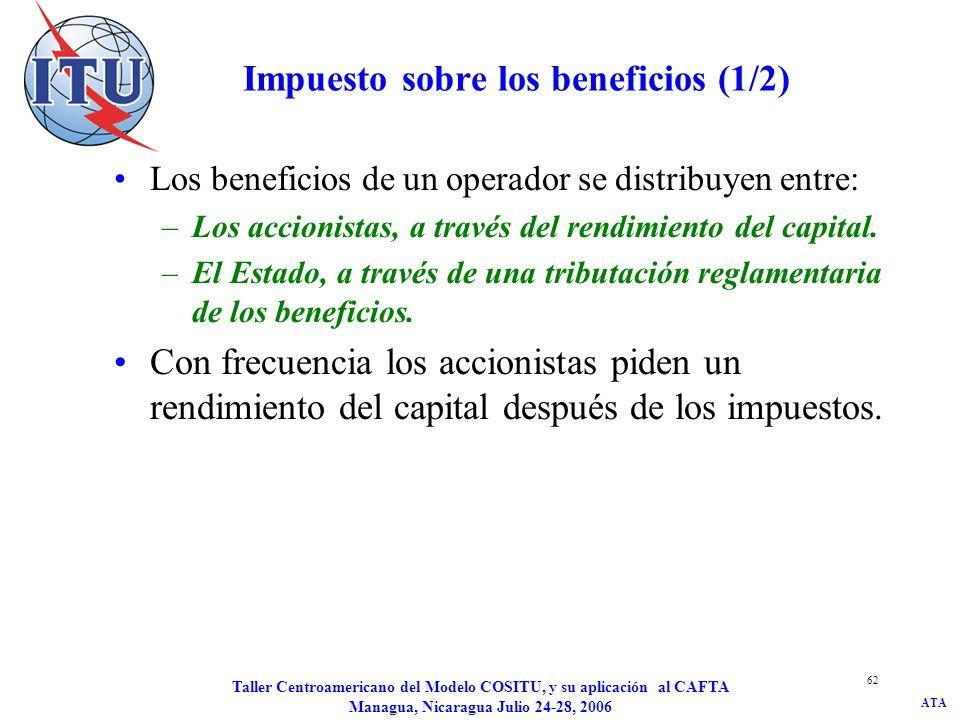 ATA Taller Centroamericano del Modelo COSITU, y su aplicación al CAFTA Managua, Nicaragua Julio 24-28, 2006 63 Impuesto de los beneficios (2/2) L: Valor totales de los impuestos : gravamen de impuesto sobre los beneficios : rendimiento del capital propio Capital: capital propio