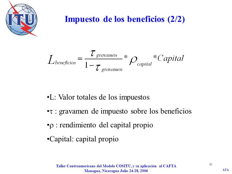 ATA Taller Centroamericano del Modelo COSITU, y su aplicación al CAFTA Managua, Nicaragua Julio 24-28, 2006 63 Impuesto de los beneficios (2/2) L: Val