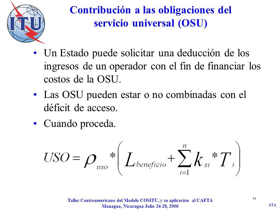ATA Taller Centroamericano del Modelo COSITU, y su aplicación al CAFTA Managua, Nicaragua Julio 24-28, 2006 64 Contribución a las obligaciones del ser