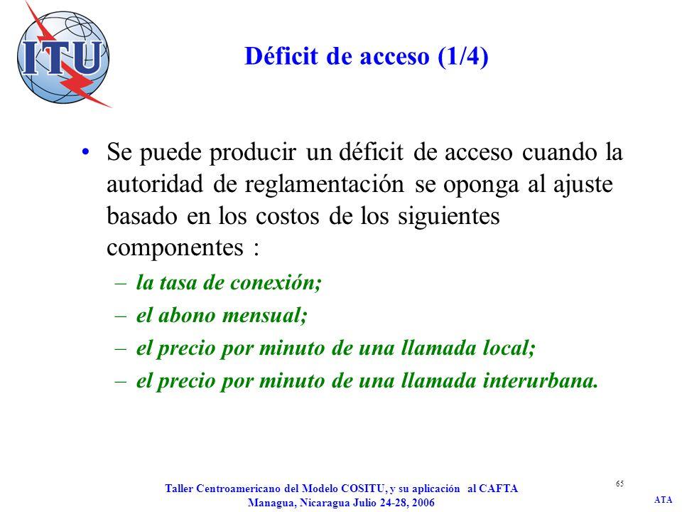 ATA Taller Centroamericano del Modelo COSITU, y su aplicación al CAFTA Managua, Nicaragua Julio 24-28, 2006 66 Déficit de acceso (2/4) Al redistribuir el déficit de acceso se debe tener presente que sólo los usuarios locales pagan la tasa de conexión y el abono mensual.