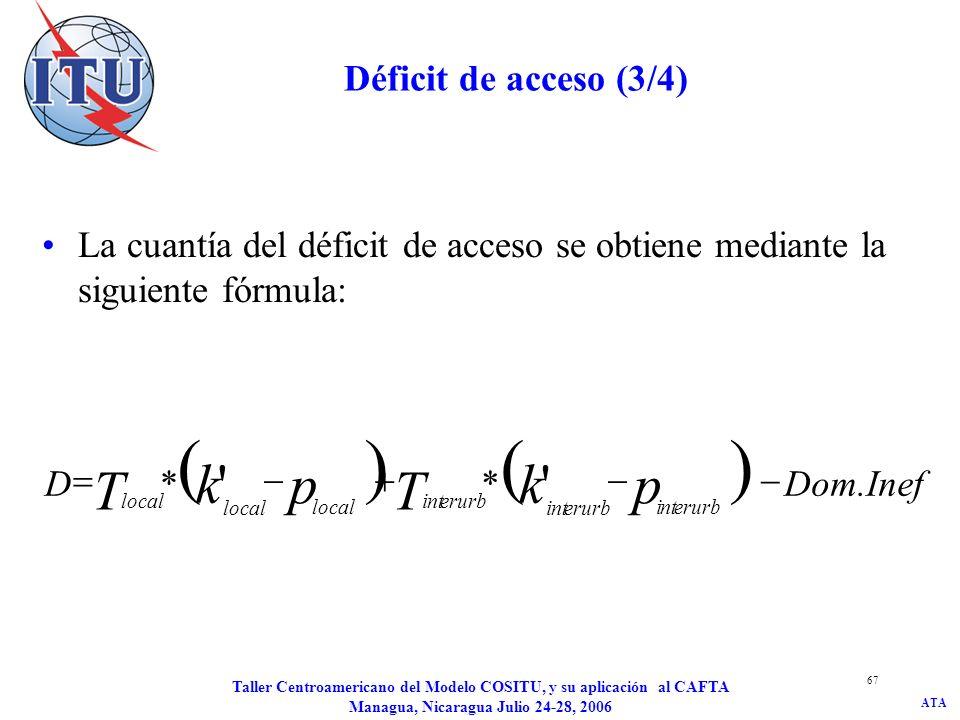 ATA Taller Centroamericano del Modelo COSITU, y su aplicación al CAFTA Managua, Nicaragua Julio 24-28, 2006 68 Déficit de acceso (4/4) Si D > 0, el déficit de acceso se reasigna a todos los servicios de telecomunicaciones prestados por el operador.
