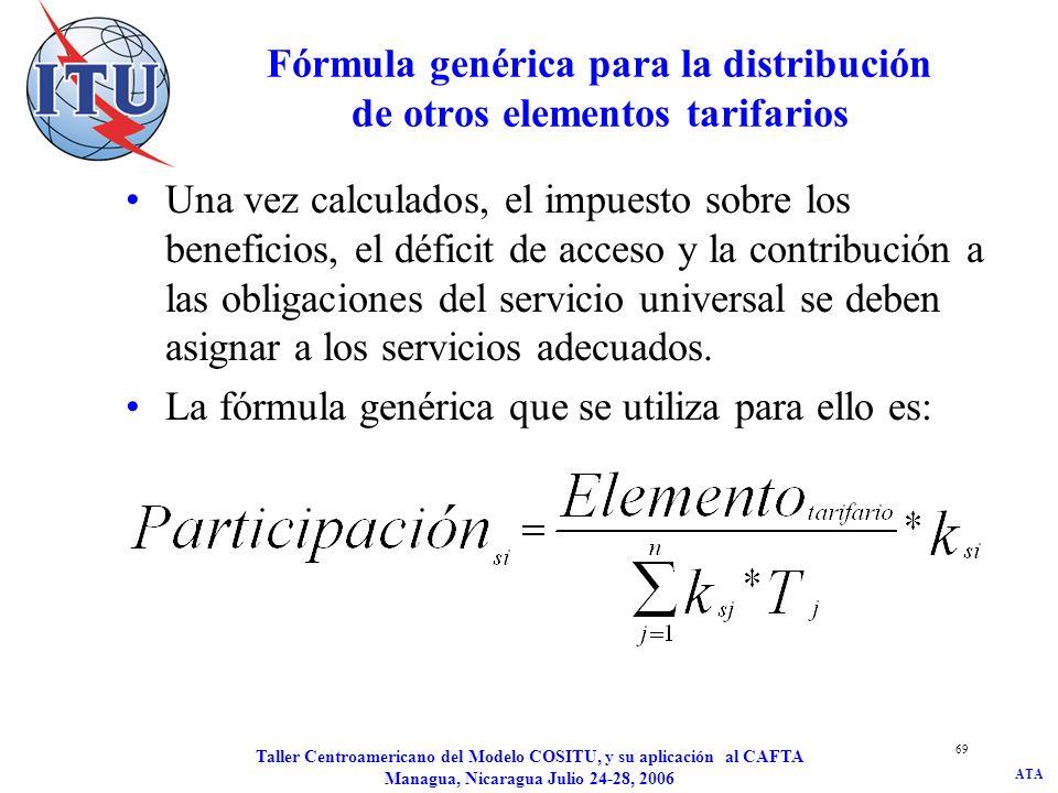 ATA Taller Centroamericano del Modelo COSITU, y su aplicación al CAFTA Managua, Nicaragua Julio 24-28, 2006 69 Fórmula genérica para la distribución d
