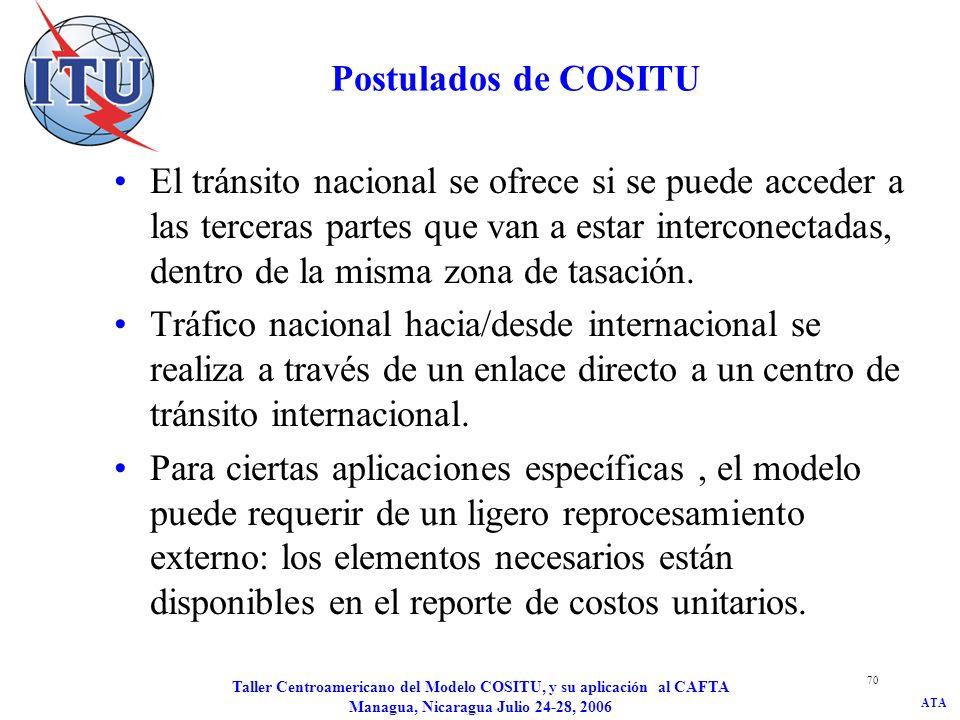ATA Taller Centroamericano del Modelo COSITU, y su aplicación al CAFTA Managua, Nicaragua Julio 24-28, 2006 70 Postulados de COSITU El tránsito nacion