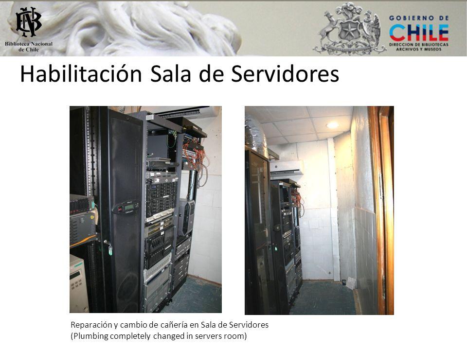 Habilitación Sala de Servidores Reparación y cambio de cañería en Sala de Servidores (Plumbing completely changed in servers room)