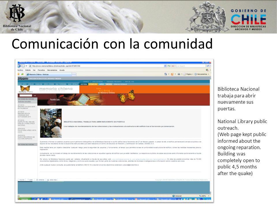 Comunicación con la comunidad Biblioteca Nacional trabaja para abrir nuevamente sus puertas. National Library public outreach. (Web page kept public i