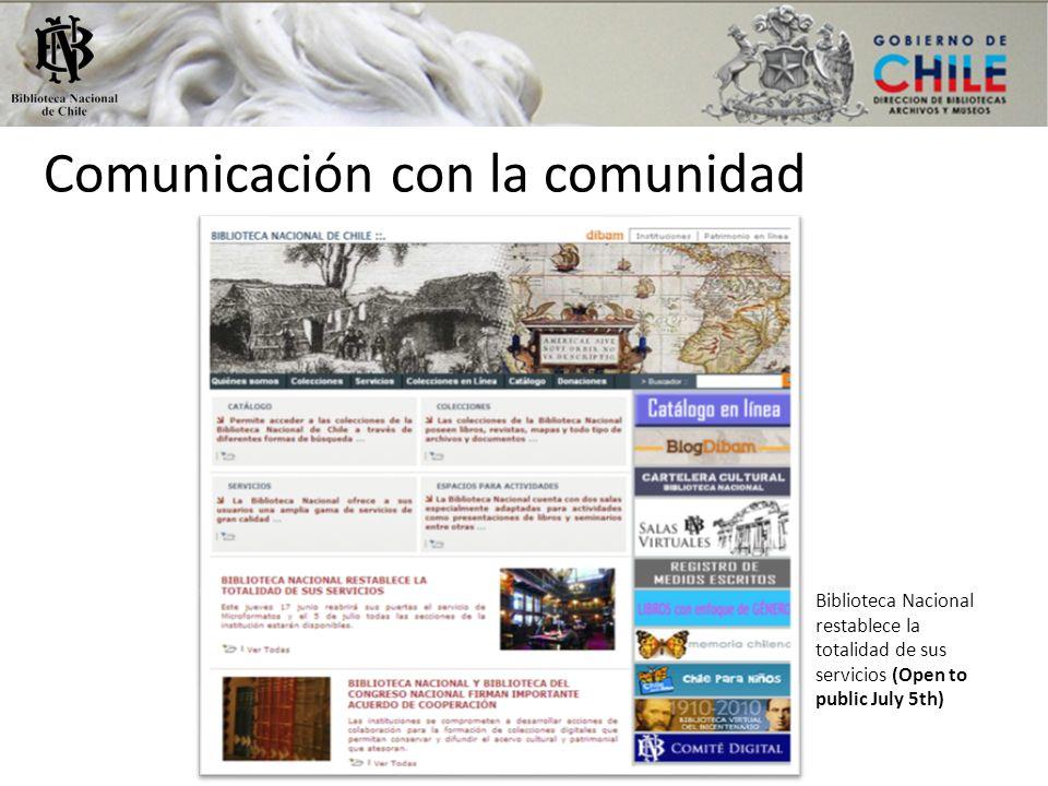 Comunicación con la comunidad Biblioteca Nacional restablece la totalidad de sus servicios (Open to public July 5th)