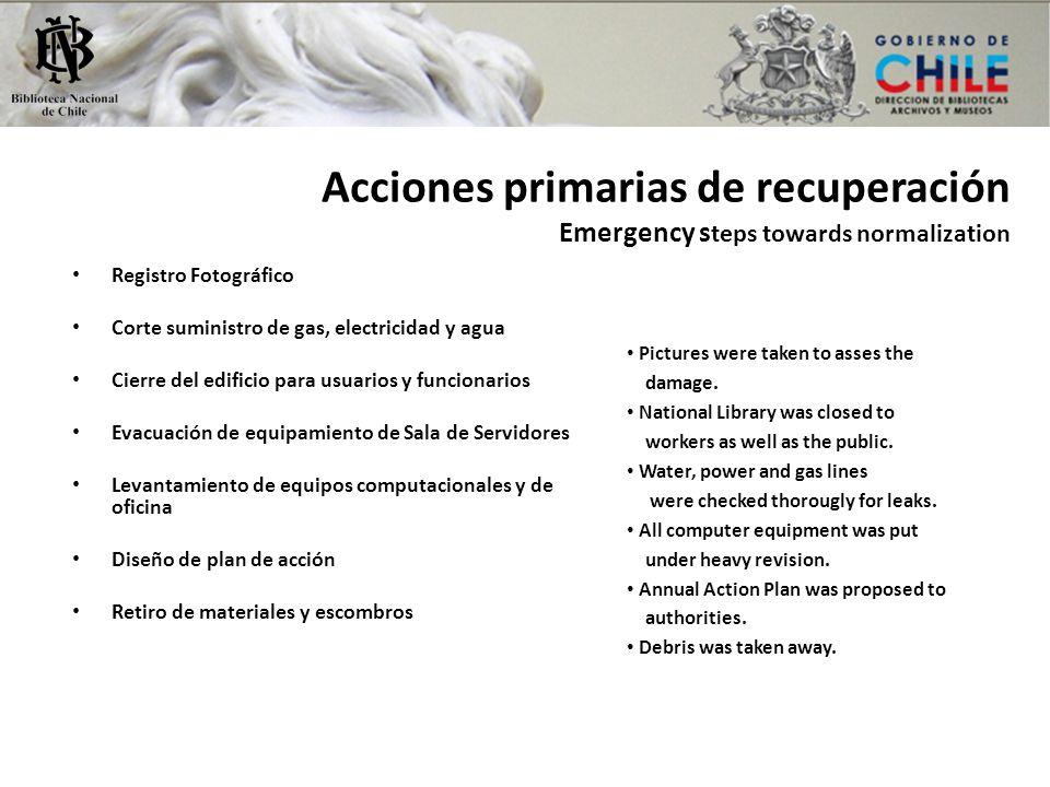 Acciones primarias de recuperación Emergency s teps towards normalization Registro Fotográfico Corte suministro de gas, electricidad y agua Cierre del
