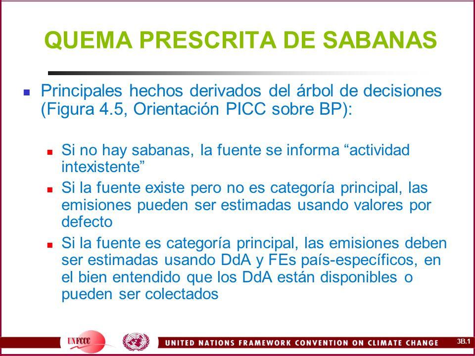 3B.1 QUEMA PRESCRITA DE SABANAS Principales hechos derivados del árbol de decisiones (Figura 4.5, Orientación PICC sobre BP): Si no hay sabanas, la fu
