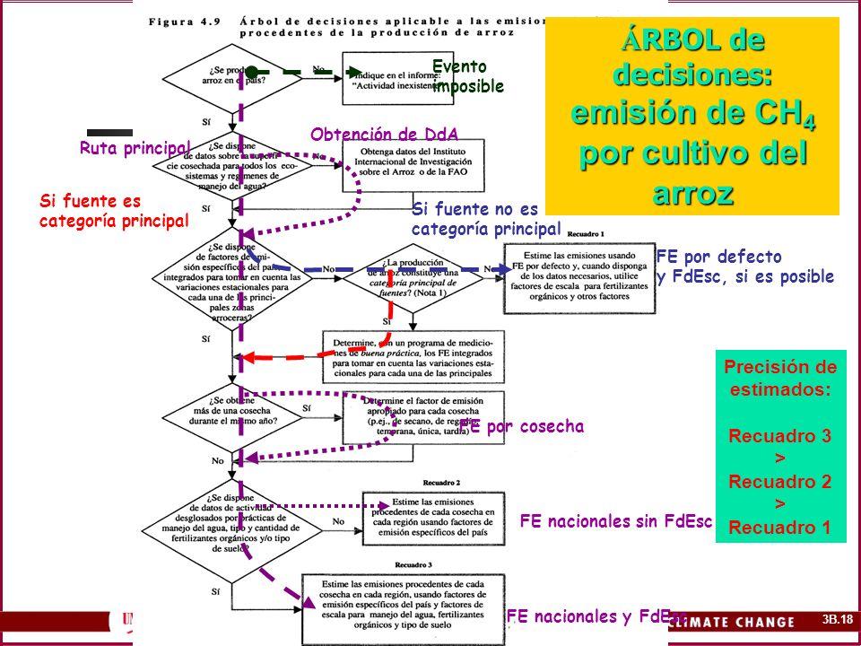 3B.18 Á RBOL de decisiones: emisión de CH 4 por cultivo del arroz Precisión de estimados: Recuadro 3 > Recuadro 2 > Recuadro 1 Evento imposible Si fue