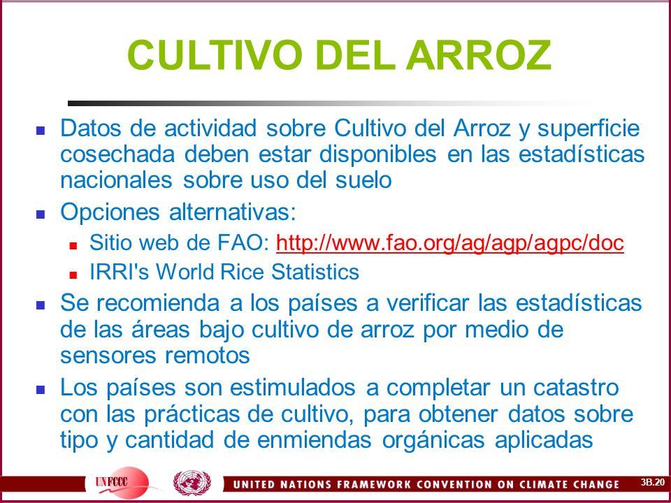 3B.20 Datos de actividad sobre Cultivo del Arroz y superficie cosechada deben estar disponibles en las estadísticas nacionales sobre uso del suelo Opc