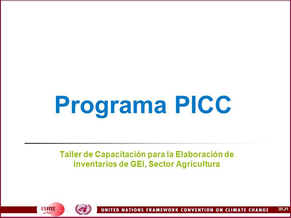 3B.21 Programa PICC Taller de Capacitación para la Elaboración de Inventarios de GEI, Sector Agricultura