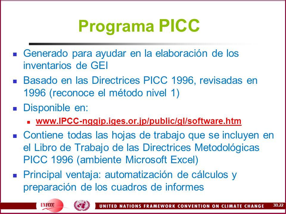3B.22 Programa PICC Generado para ayudar en la elaboración de los inventarios de GEI Basado en las Directrices PICC 1996, revisadas en 1996 (reconoce