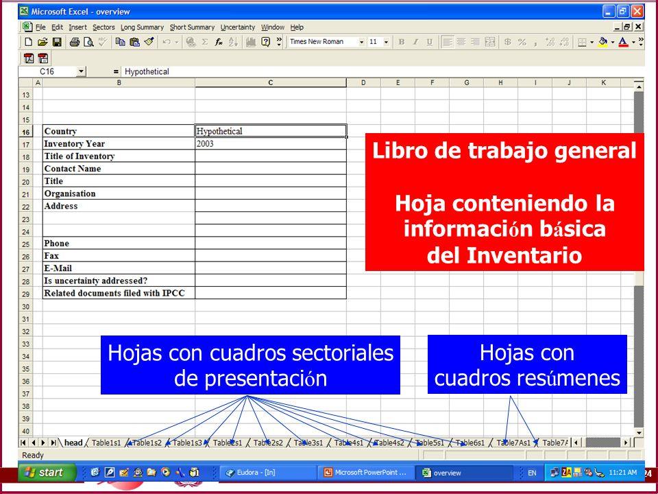 3B.24 PICC software Libro de trabajo general Hoja conteniendo la informaci ó n b á sica del Inventario Hojas con cuadros sectoriales de presentaci ó n